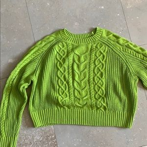 Cropped line green sweater from H &M
